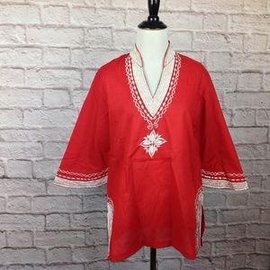 Vintage Top Women 12 Red White Embroidered Kimono